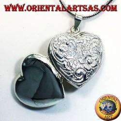 Ciondolo Portafoto cuore cesellato in argento
