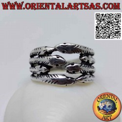 Silver ring with four rows...