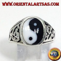 yin yang Tao ring carved silver