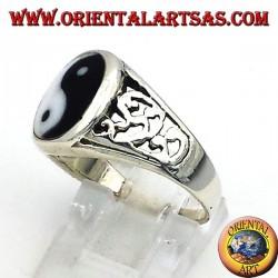 Yin Yang Tao Ring geschnitzt Silber