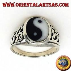 yin yang Tao anneau sculpté en argent
