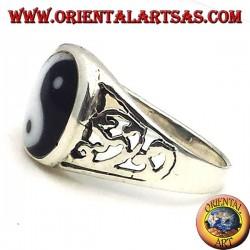 yin yang Tao ring carved silver