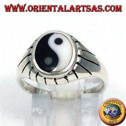 silver yin yang Tao ring carved beams