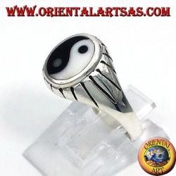 silver yin yang Tao ring carved beams