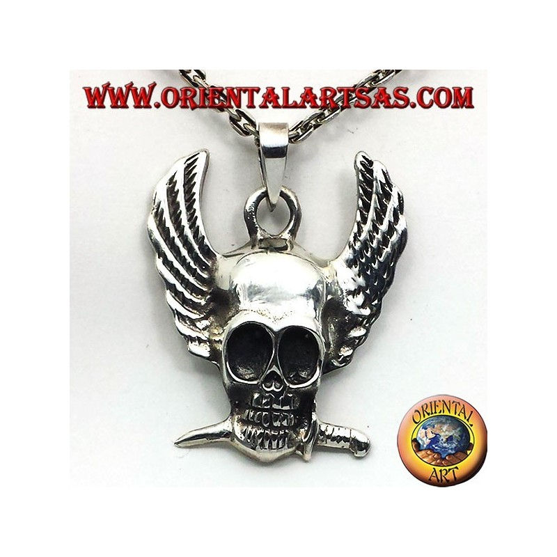 silver pendant skull with wings