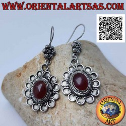 Hook silver earrings with...