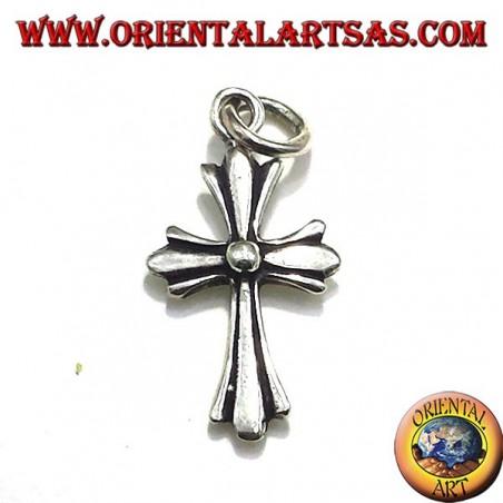 colgante de plata, en la pequeña cruz de plata caras