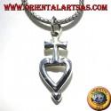 ciondolo in argento croce sul cuore