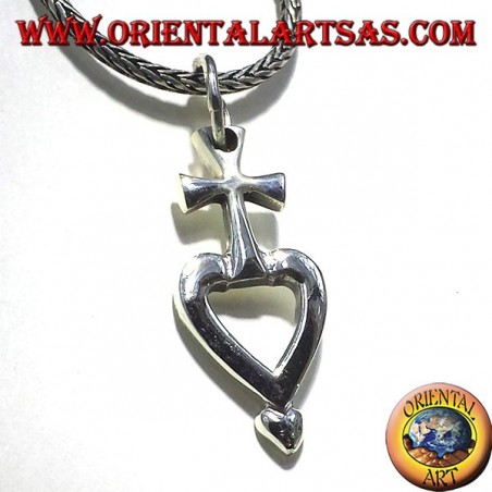 Ciondolo croce del sacro cuore in argento