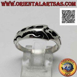 Silver ring with crescent...