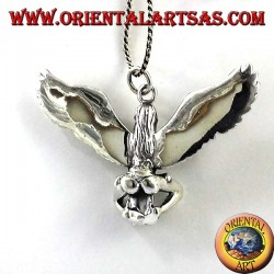 silver pendant, winged woman with skull