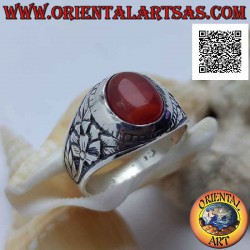 Silver ring with cabochon...