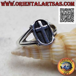 Silver ring with Latin...