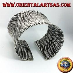 bracciale alla schiava largo intrecciato in argento