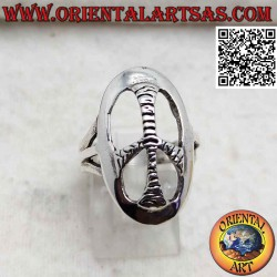 Silver ring with rounded...