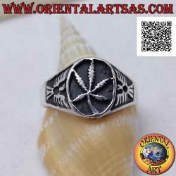 Серебряное кольцо с листом...