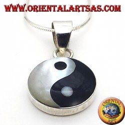 tao yin yang pendant in silver with mother of pearl
