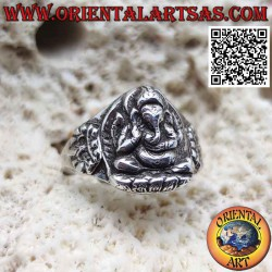 Silver ring with seated...