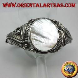 bracciale rigido in argento con Madre perla