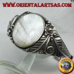 silver bangle with nacre