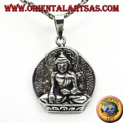 silver pendant, Buddha on lotus flower
