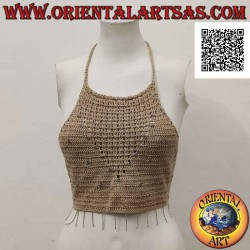 Beige a-line crochet top...