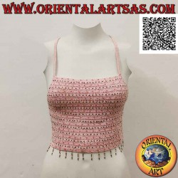 Pink A-line crochet top...