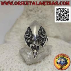 Серебряное кольцо, череп...
