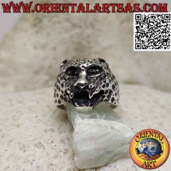 Silver ring with protruding...