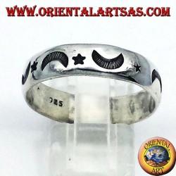fedina intagliata stella e luna in argento