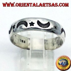 silver ring, carved star and moon