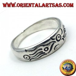 Ring in silver carved end, Maori fish