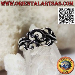 Silver ring with floral...