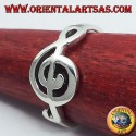 Anello in argento chiave di violino, in orizzontale