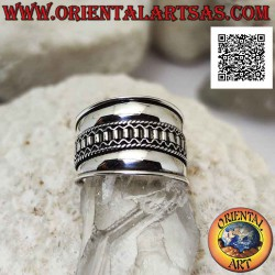Wide band silver ring with...