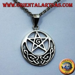 ciondolo in argento pentacolo con G e nodo celtico