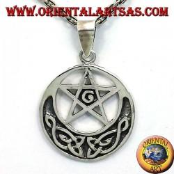 Silber Anhänger, Pentagramm mit G und keltische Knoten