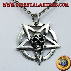 silver pendant, pentagram with skull