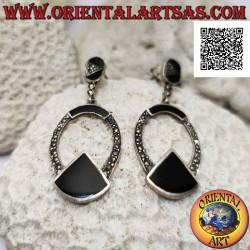 Silver earrings, oval line...