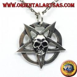 silver pendant, pentagram with skull