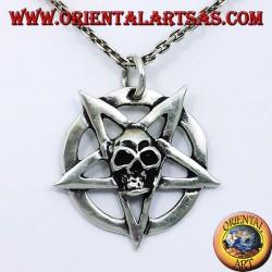 Silber Anhänger, Pentagramm mit dem Schädel