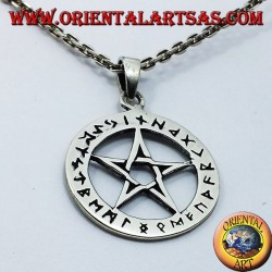 silver pendant, pentacle with Celtic runes