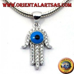 silver pendant, hand of fatima with eye and zircons