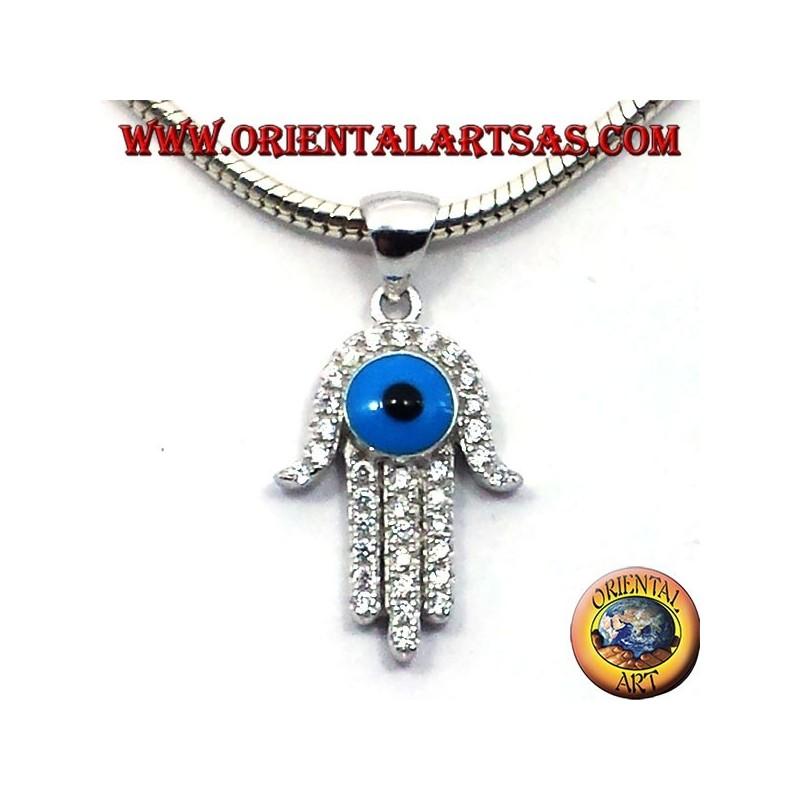 silver pendant, hand of fatima with eye and zircons