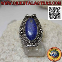 Silver ring with oval lapis...