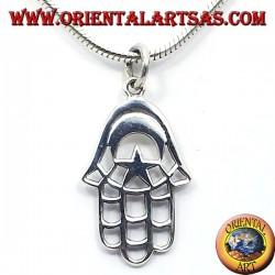 Silber Anhänger, Hand von Fatima mit dem Mond und Stern