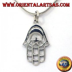 silver pendant, hand of Fatima with the Moon and Star