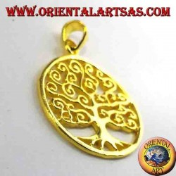 Klimt Árbol de la vida colgante en oro chapado en plata