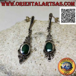 Silver earrings with oval...