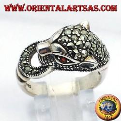 Тигре серебряное кольцо с марказит и рубиновыми глазами